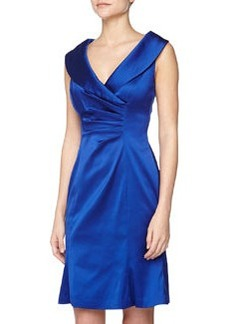 Kay Unger New York Pleated Satin Cocktail Dress, Royal