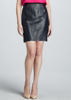 Elie Tahari Aurora Leather Perforated-Center Skirt