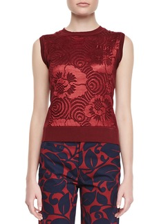 Marc Jacobs Sleeveless Floral Sweater, Burgundy