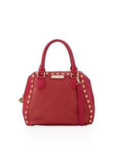 Betsey Johnson Rosette Stud Two-Tone Bowler Bag, Berry
