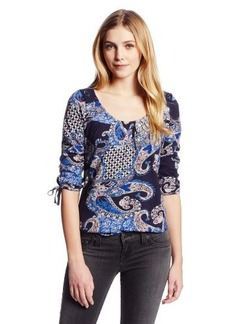Lucky Brand Women's Paisley Lace Back Top