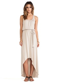 Michael Stars Seamless Scoop Neck Racerback High Low Maxi Dress in Tan