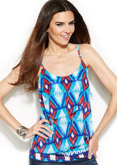 INC International Concepts Tiered Printed Sleeveless Top