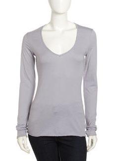James Perse V-Neck Long-Sleeve Shirt, Deep Breeze