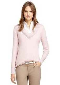 Braided Neckline Merino Wool Sweater