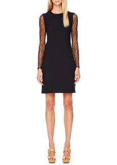 Michael Kors Lace-Sleeve Crepe Dress