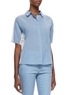 J Brand Ready to Wear Hay Denim Voile Short-Sleeve Blouse