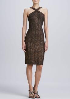 David Meister Sleeveless Halter Cocktail Dress