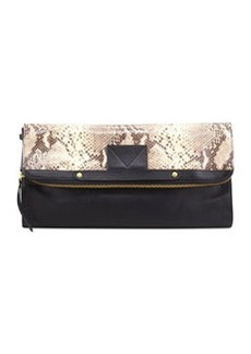 12th Street by Cynthia Vincent Banker's Python-Print Fold-Over Clutch