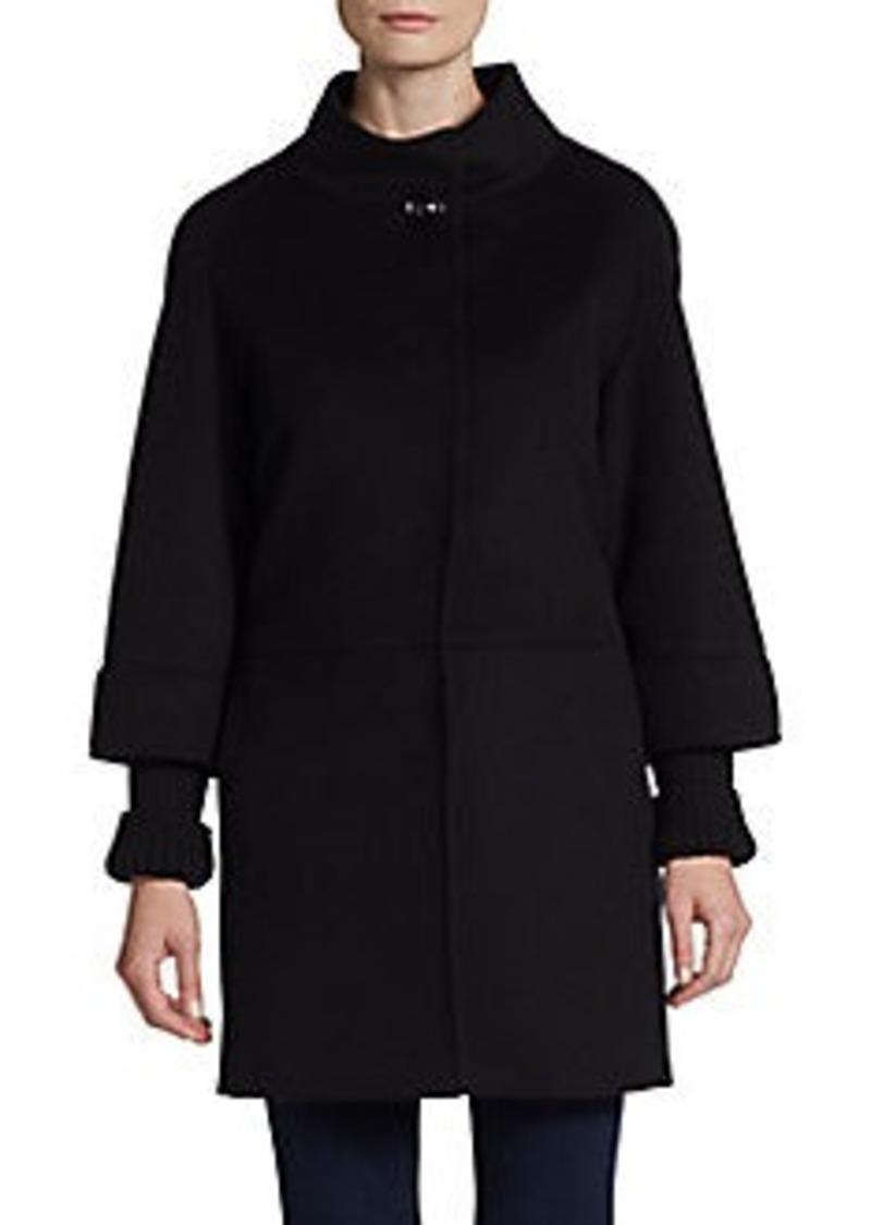 Cinzia Rocca Knit-Cuff Wool Coat