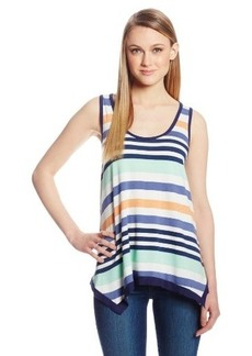 Democracy Women's Knit Horizontal Stripe Tank Top with Rouched Back Detail