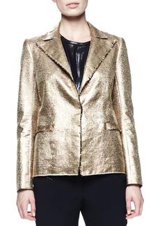 Lanvin Matte Metallic Basketweave Jacket, Gold