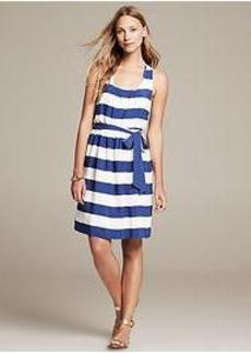 Striped Twist-Strap Dress
