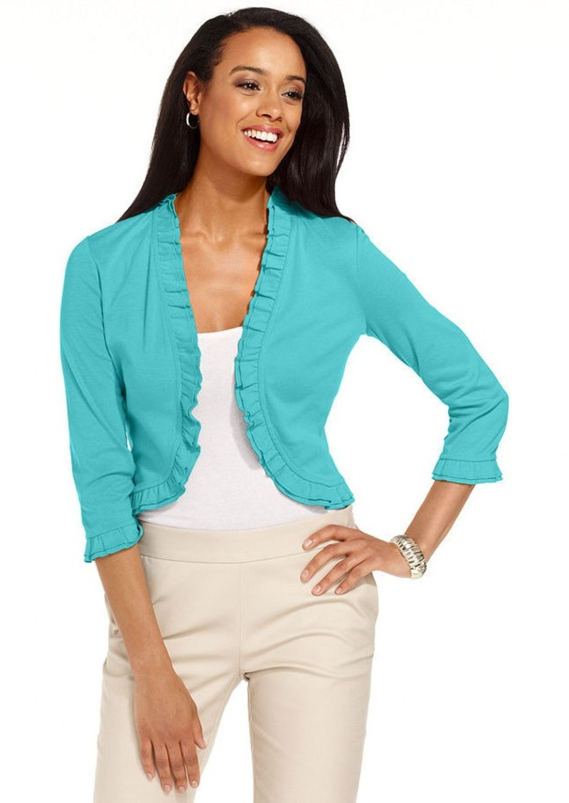 Charter Club Petite Sweater, Three-Quarter-Sleeve Ruffled Bolero