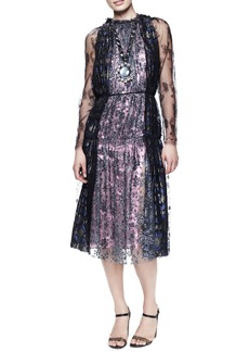 Lanvin Metallic Lace Tea-Length Dress, Anthracite/Purple