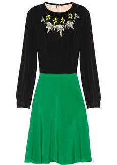Marni Color-block embellished crepe de chine dress