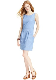 Tommy Hilfiger Sleeveless Pleated A-Line Chambray Dress