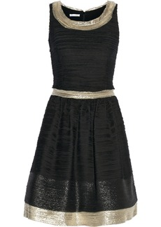 Oscar de la Renta Metallic-trimmed silk-blend chiffon dress