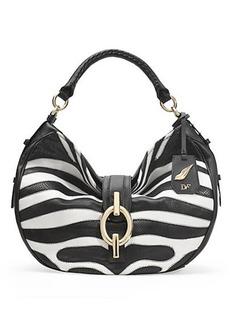 Sutra Zebra Patchwork Leather Hobo Bag