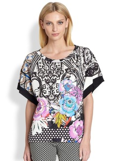 Etro Mixed-Graphic Hi-Lo Silk Top