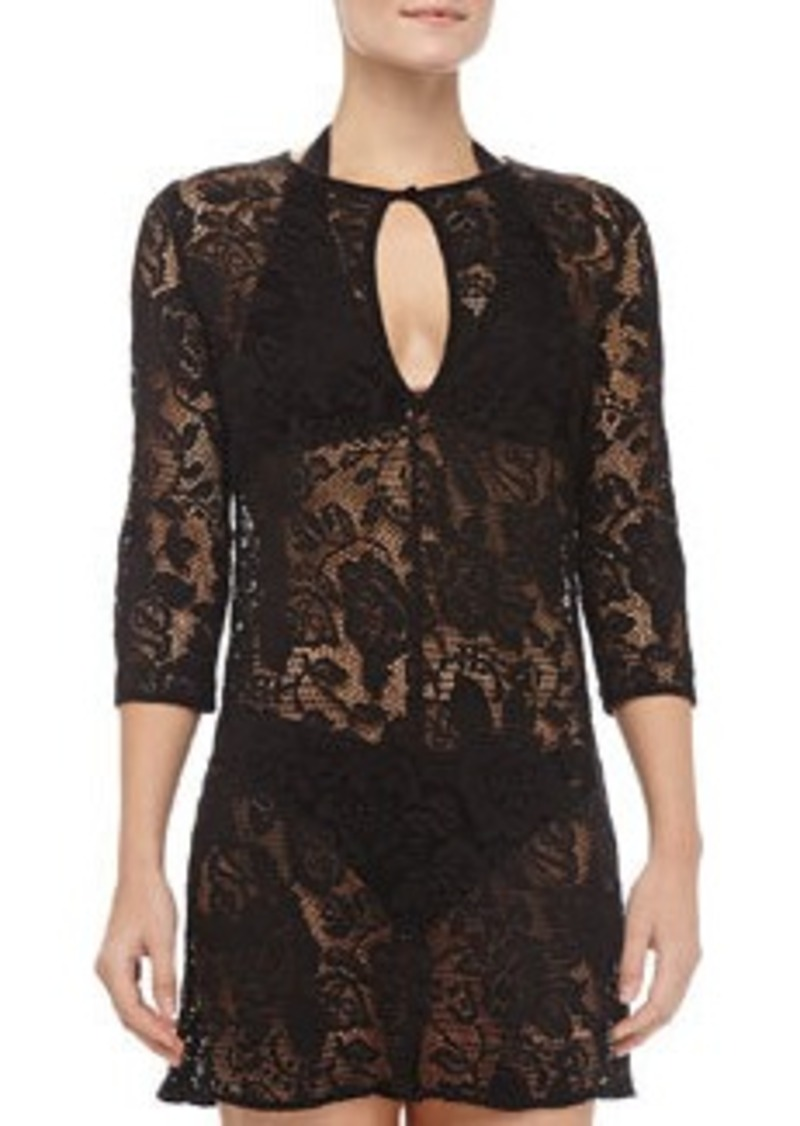 Shoshanna Black Fresia Lace Coverup