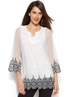 Alfani Petite Embroidered Illusion Peasant Top