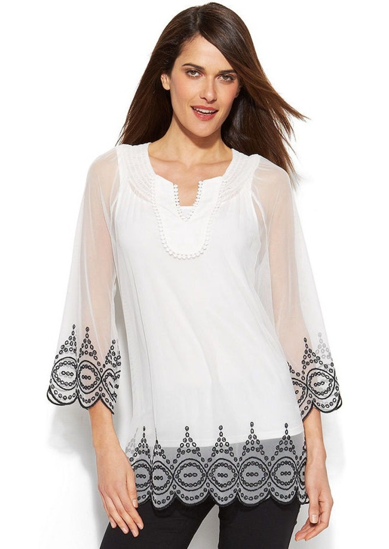 Alfani Embroidered Illusion Peasant Top