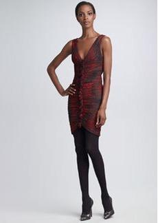 Roberto Cavalli Ruched Python-Print Dress