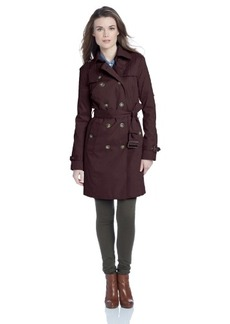London Fog Women's Quilted Shoulder Trench Coat