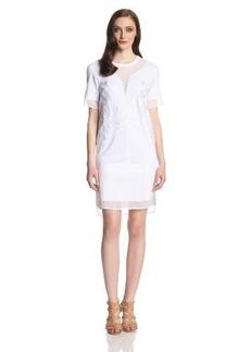 Robert Rodriguez Women's Dandelion Embroidery Short Sleeve Shift Dress