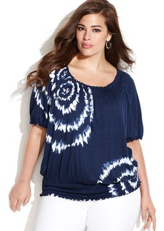 INC International Concepts Plus Size Short-Sleeve Tie-Dye Peasant Top