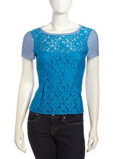 Nanette Lepore Grand Entry Lace Striped Peplum Top, Blue/Ivory