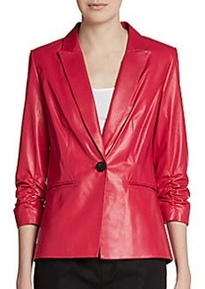 Lafayette 148 New York Lorenzo Leather Ruched-Sleeve Jacket
