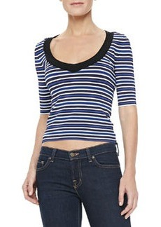 Nanette Lepore Harbor Top, Black/White/Blue Stripe
