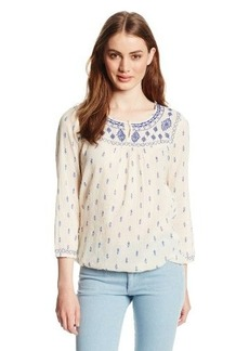 Lucky Brand Women's Layton Motif Peasant Top