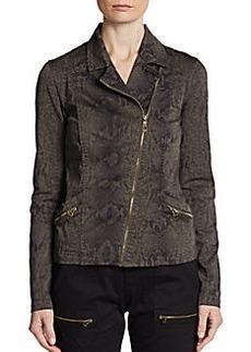 Saks Fifth Avenue BLUE Snakeskin-Print Moto Jacket