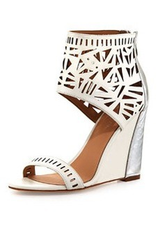 Nicole Miller Turks Geometric Cutout Wedge, White/Silver