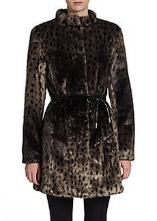Via Spiga Leopard-Print Faux Fur Coat