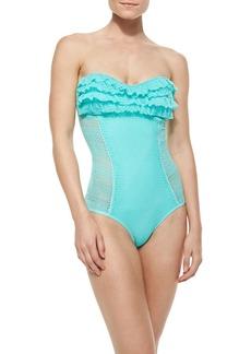 Juicy Couture Ruffle-Detail Bandeau Maillot Swimsuit, Aqua Sky
