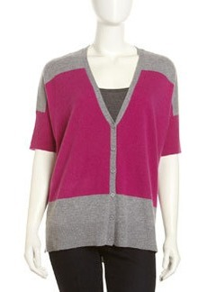 Design History Colorblock Cashmere Cardigan, Crushed Berry