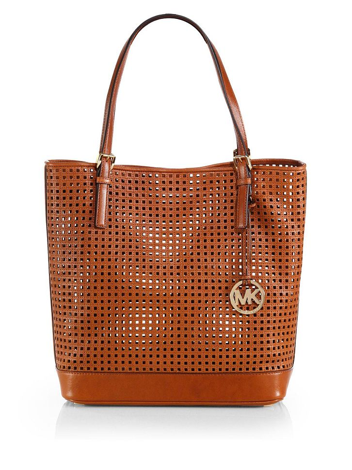 michael michael kors bridget large perforated leather tote shop it to me all sales in one. Black Bedroom Furniture Sets. Home Design Ideas