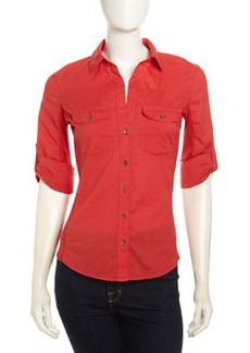 James Perse Slub Knit Patch-Pocket Tee, Rouge