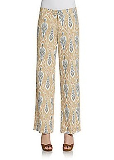 Saks Fifth Avenue BLUE Abstract Ikat Wide-Leg Trousers