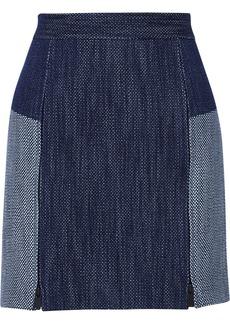 Tibi Basketweave denim mini skirt