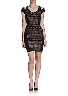 ABS Cutout-Shoulder Lace Knit Dress