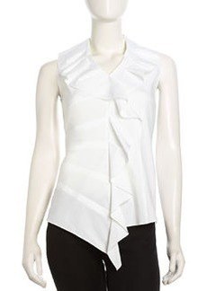 Lafayette 148 New York Asymmetric Scalloped Stretch Poplin Blouse, White