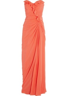 Badgley Mischka Ruffled stretch-silk chiffon gown