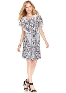 Style&co. Petite Flutter-Sleeve Printed Smocked Dress