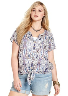 Lucky Brand Plus Size Short-Sleeve Printed Tie-Front Blouse