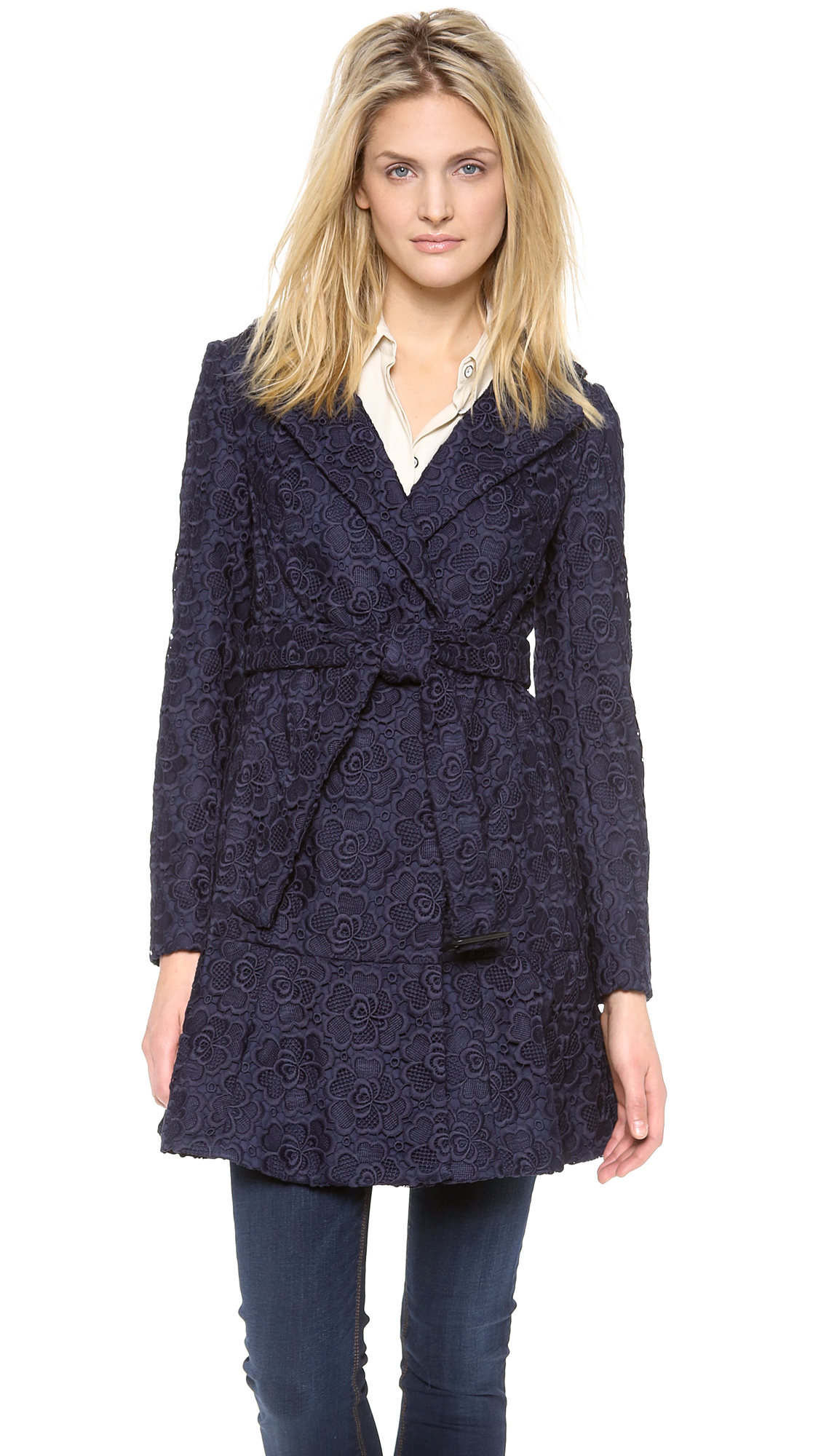 diane von furstenberg diane von furstenberg tasha lace trench coat sizes 10 shop it to me. Black Bedroom Furniture Sets. Home Design Ideas
